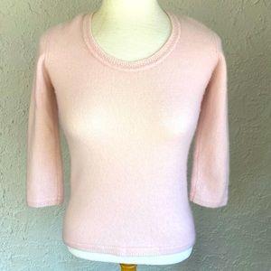 Sigrid Olsen Pink Cashmere Short Sleeve Sweater